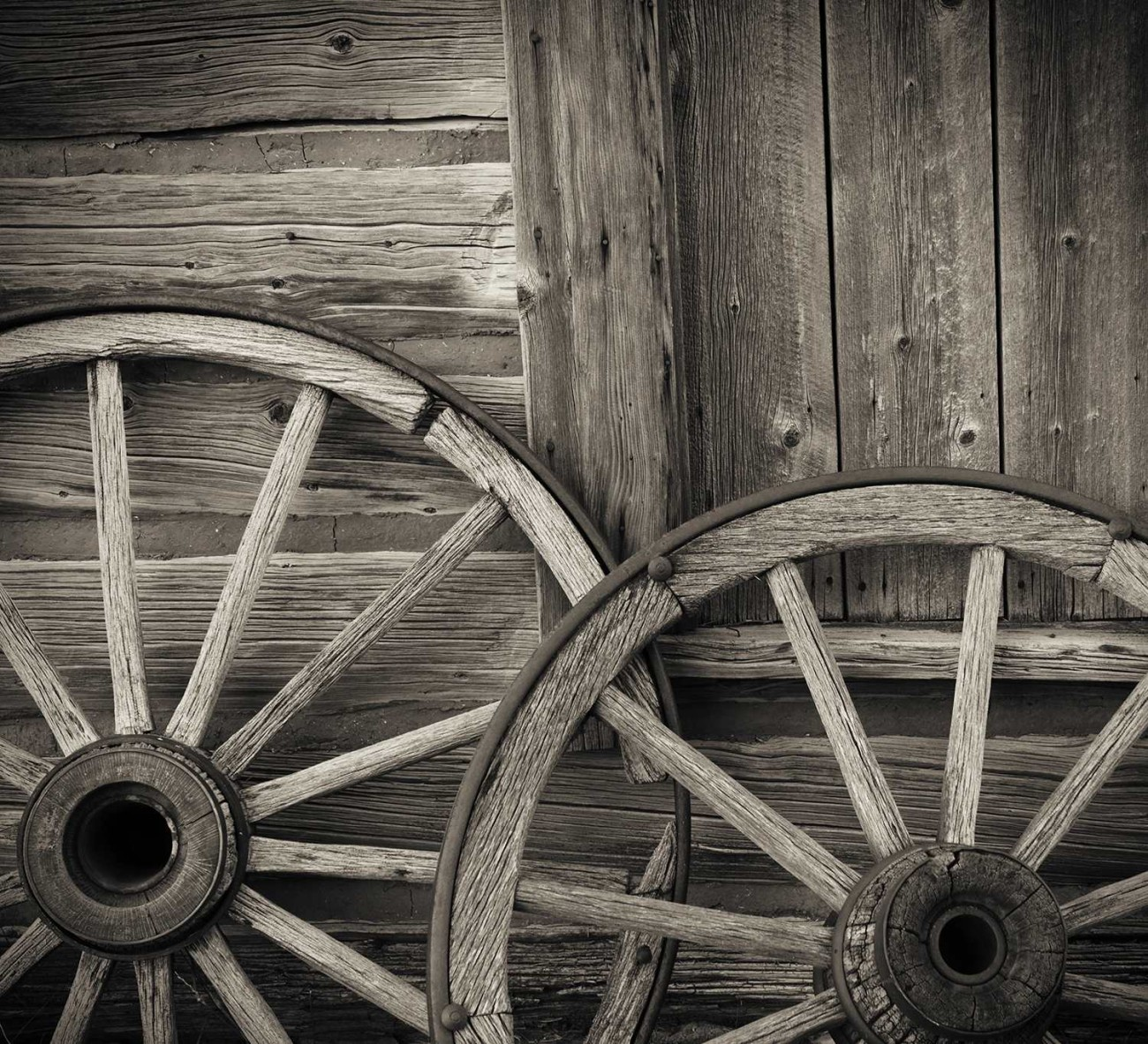 Two wagon wheels, Wyoming, 2009