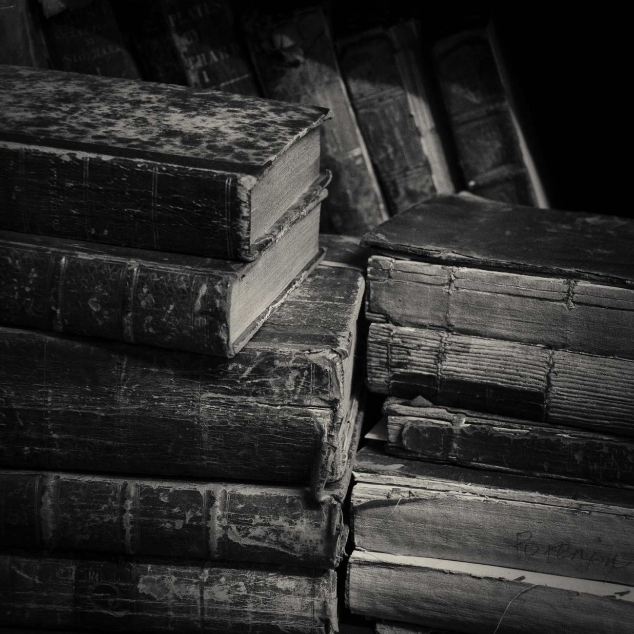 Stacks of old books, England, 2010