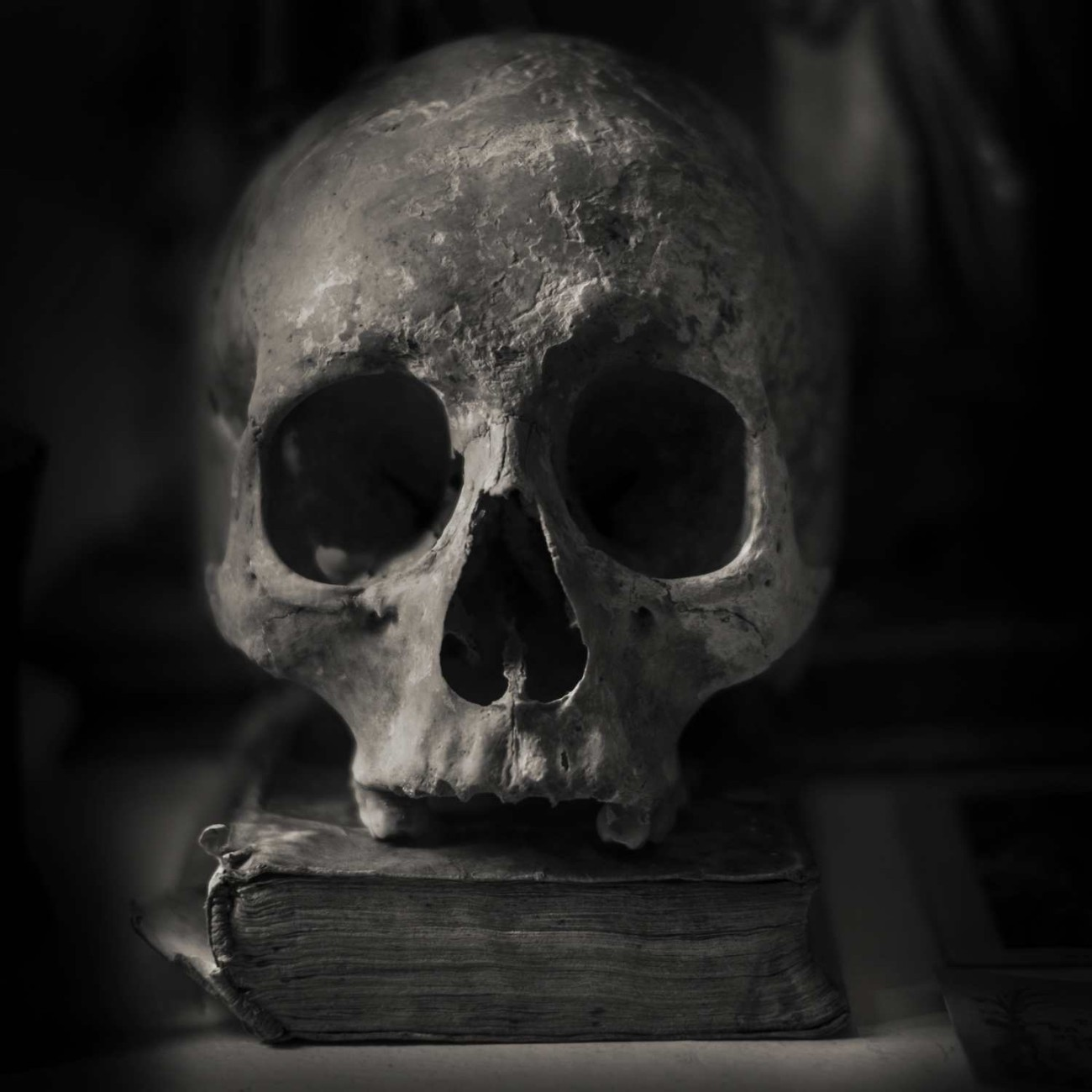 Skull and book, Monastary of Valdemossa, Spain, 2014