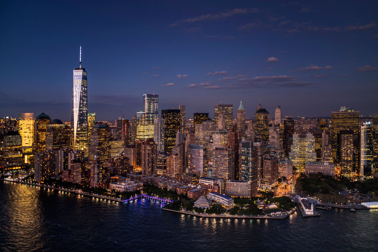 Lights of lower Manhattan at dusk, NY, 2014