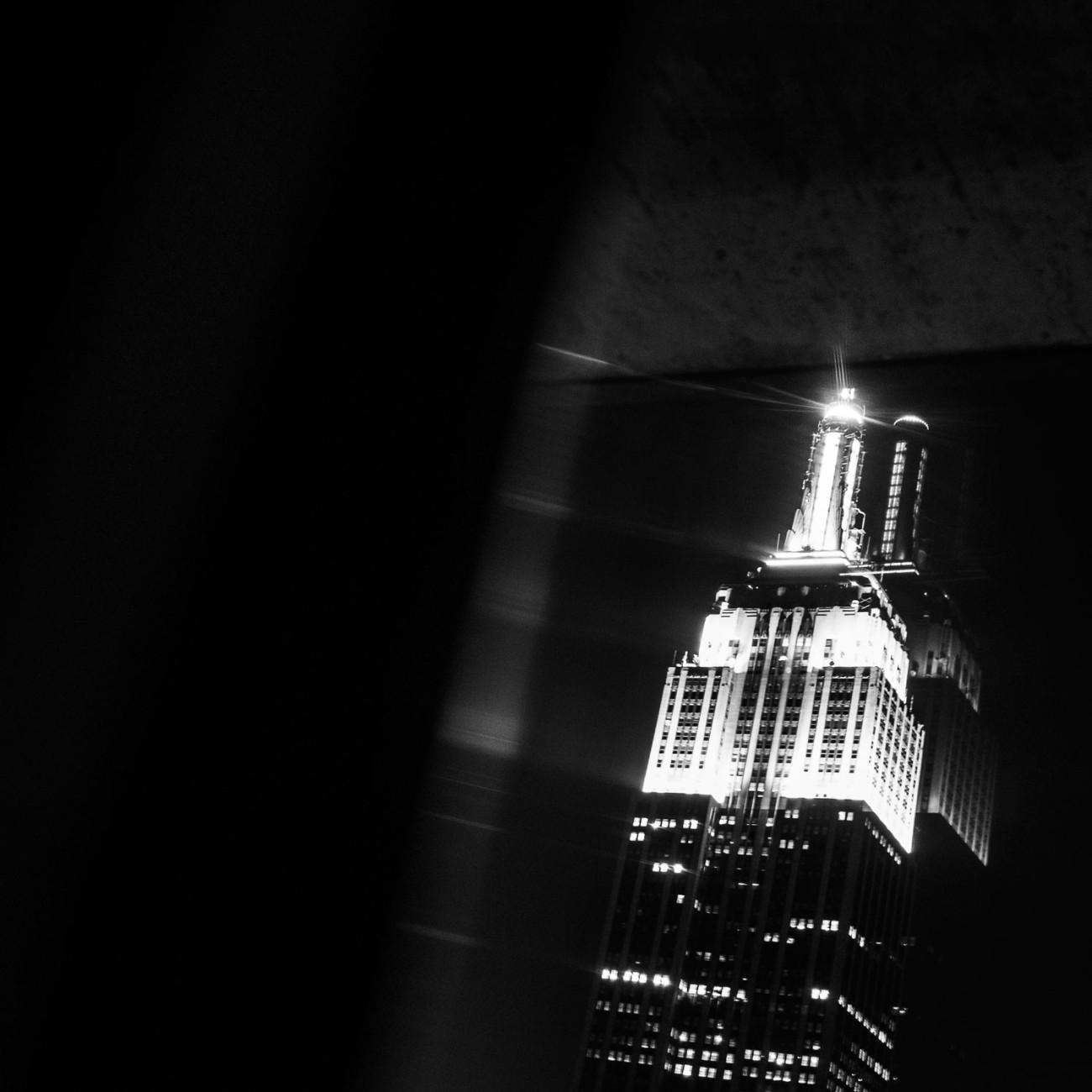 Reflection, Empire State Building at night, NY, 2014