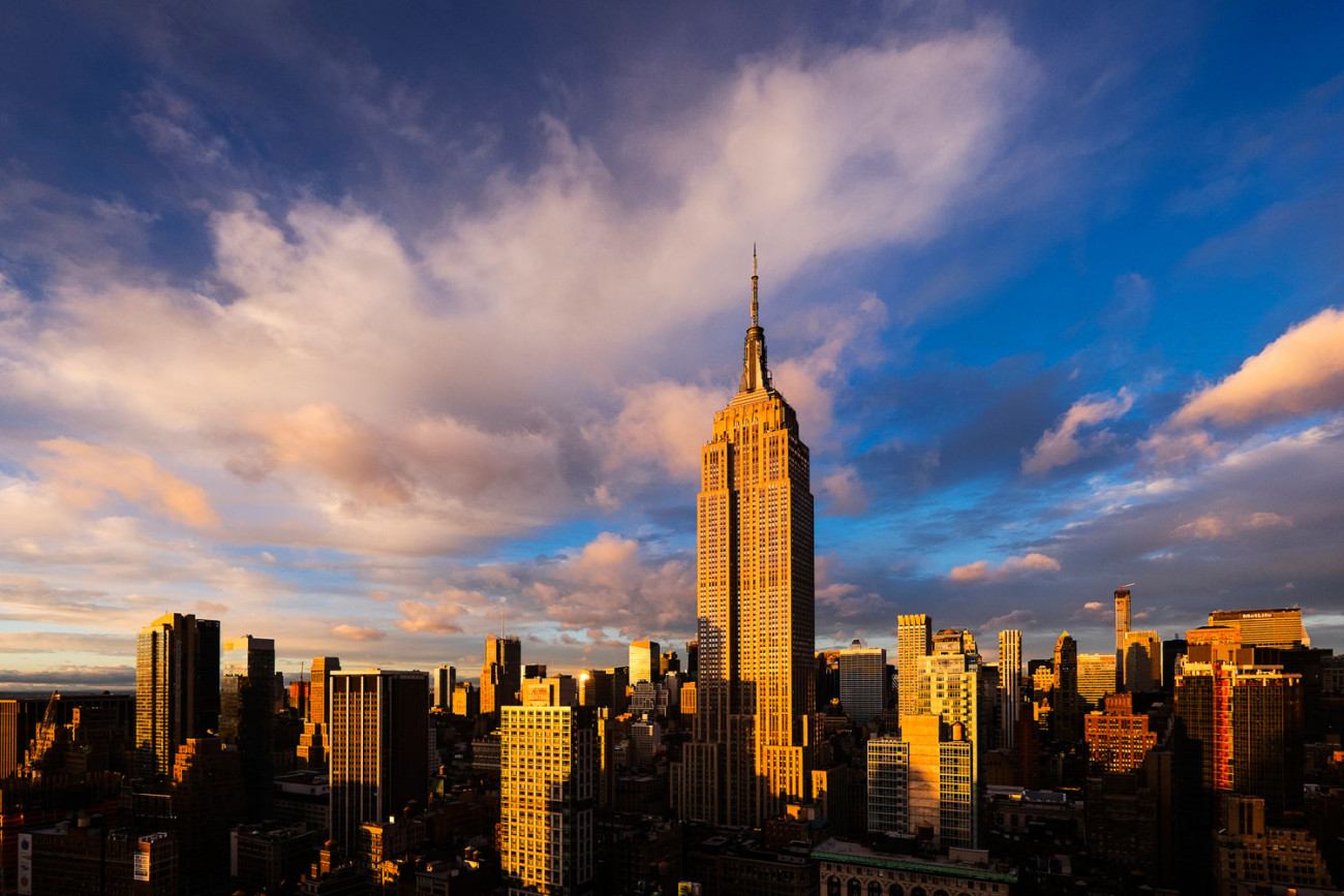 Empire State Building and mid-town at sunset with clouds, NY, 20