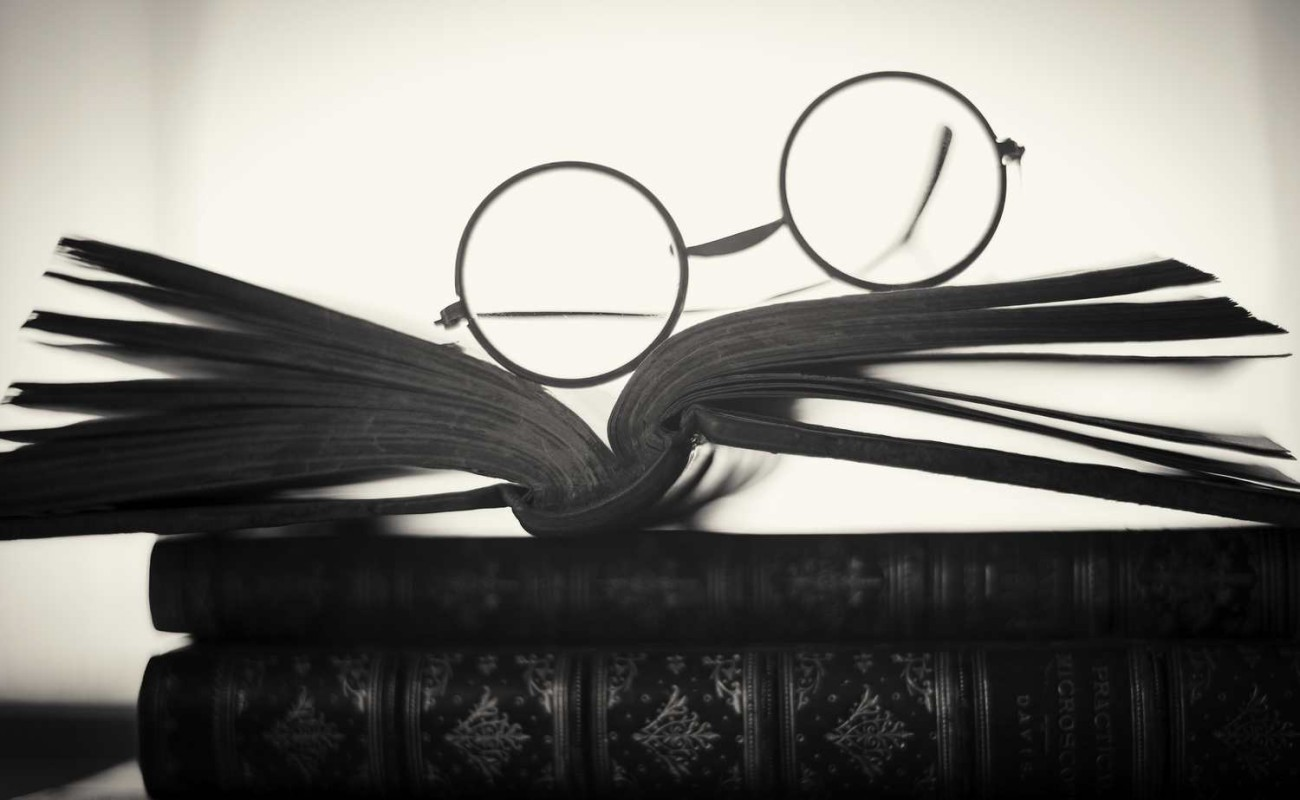 Three books and glasses, 2015