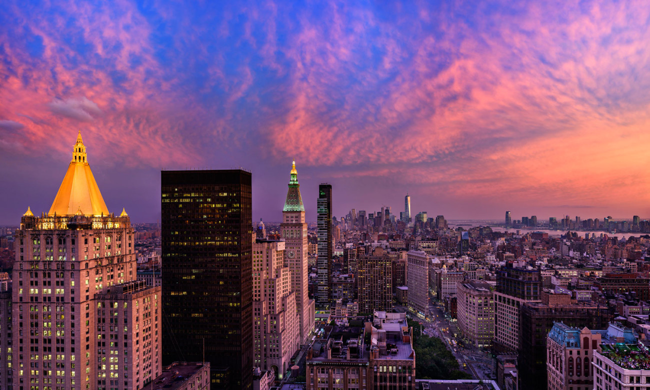 Lower Manhattan and Flatiron district at sunset, 2015
