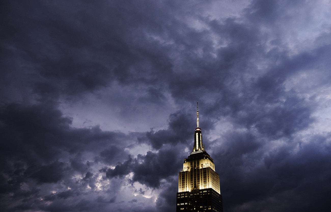 Retreating clouds and Empire State Building, NY, 2015