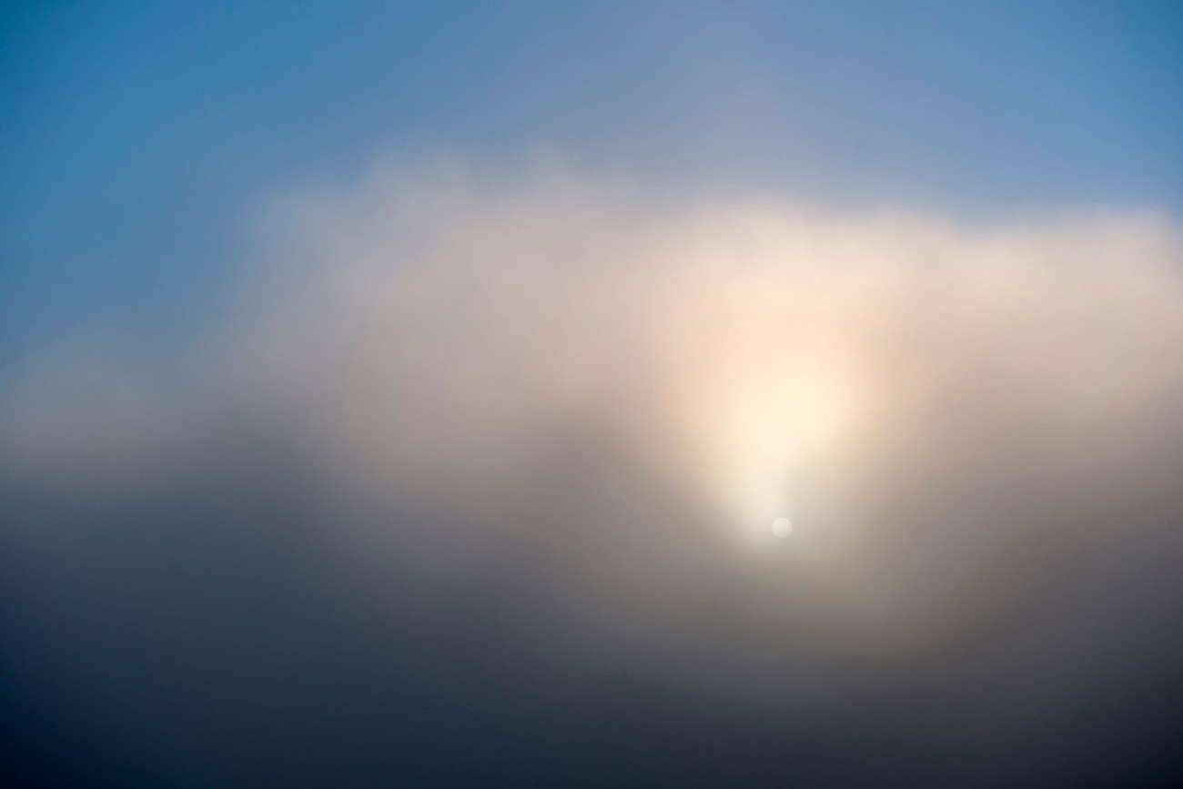 Sunrise and clearing fog, South Dakota, 2010
