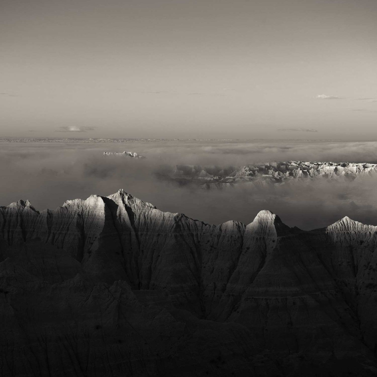 Morning fog in the Badlands, SD, 2010