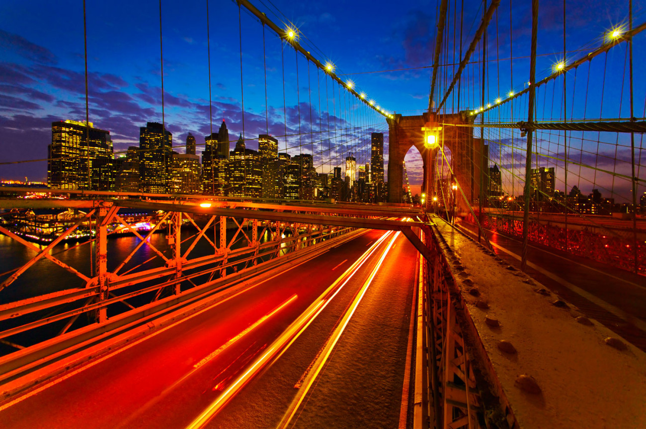 Night traffic on the Brooklyn Bridge, NY, 2011