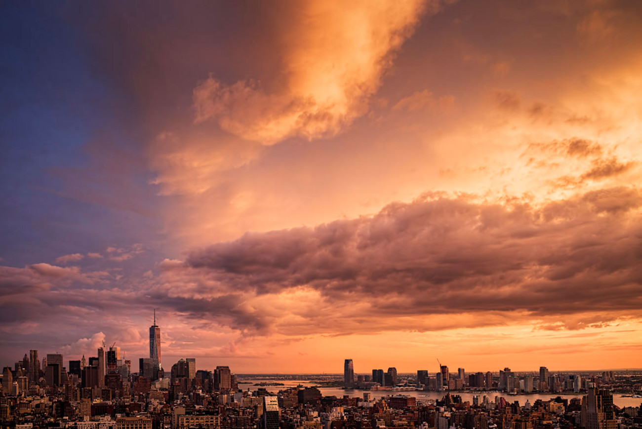 Homage to Turner, sunset over New York, 2015