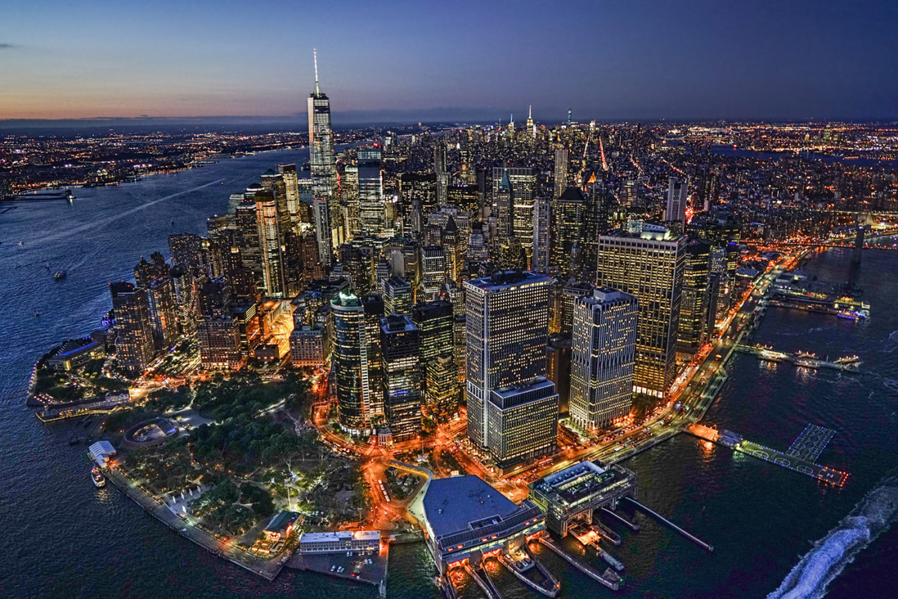 Aerial of lower Manhattan at night, NY, 2015