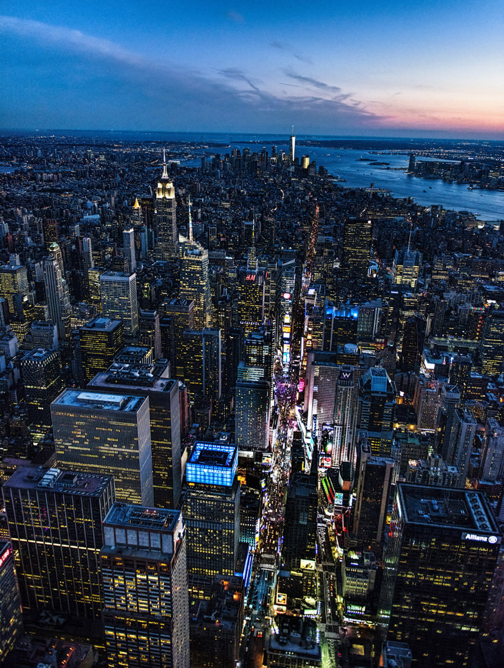 Aerial of Manhattan and Times Square, NY, 2015