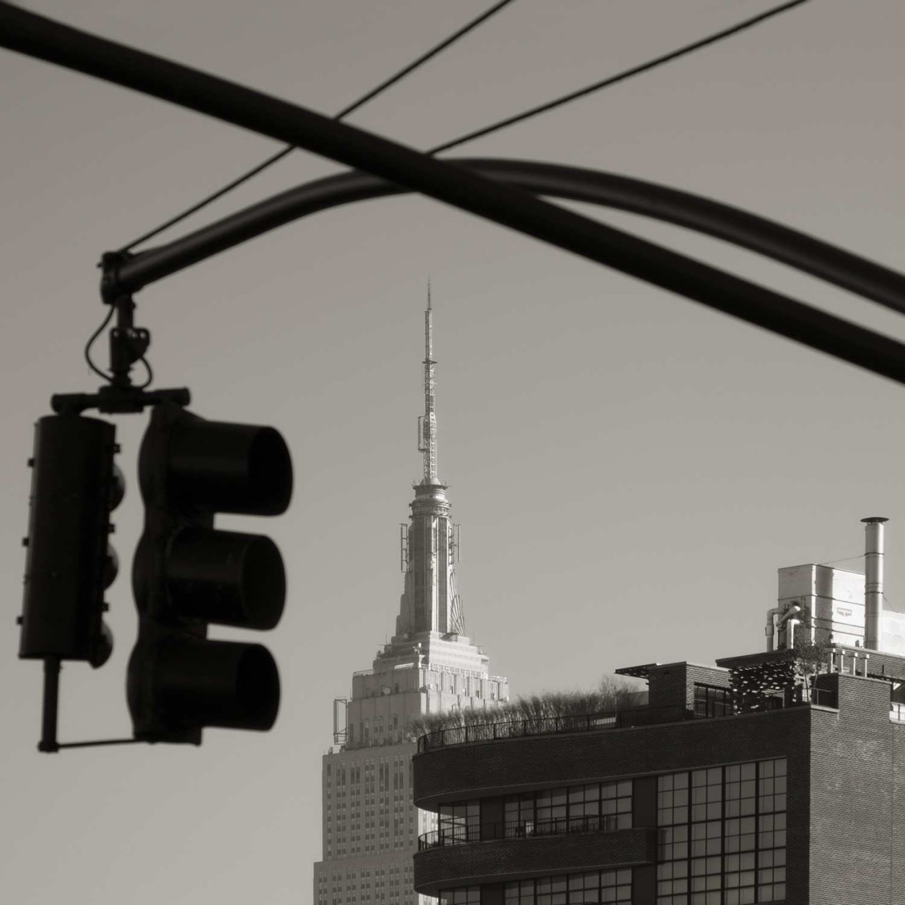 Empire State Building and traffic light silhouette, New York, 20
