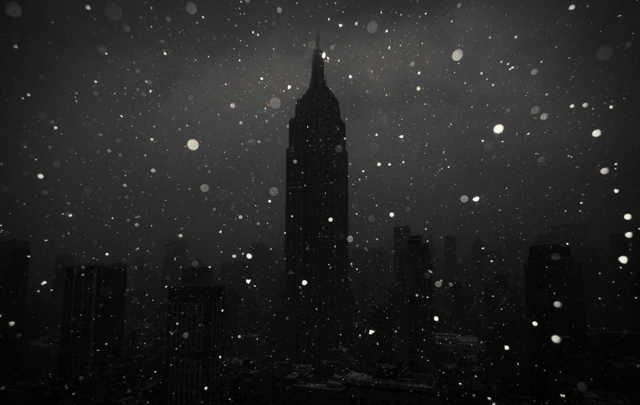 City at night with snow, New York, 2015