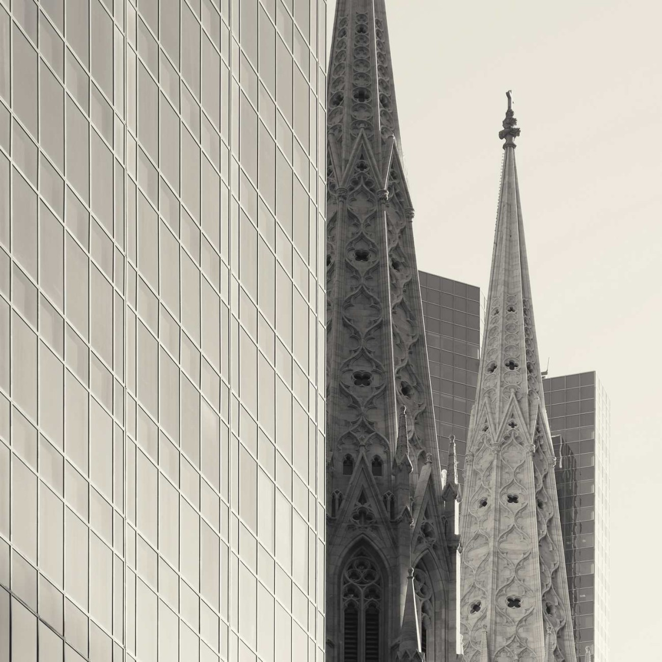 Steeples of St. Patricks and office buildings, study 1, New York