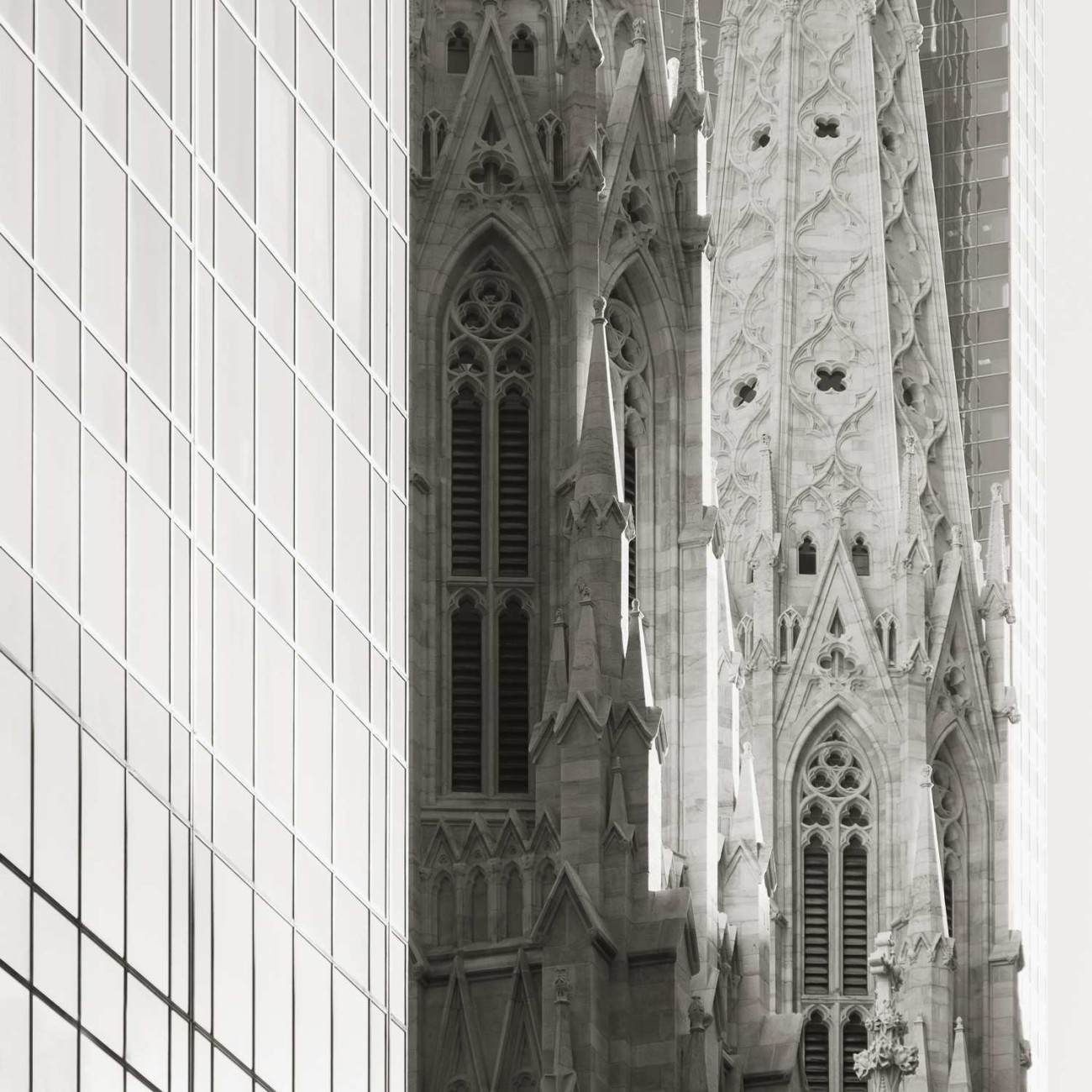 Steeples of St. Patricks and office buildings, study 2, New York