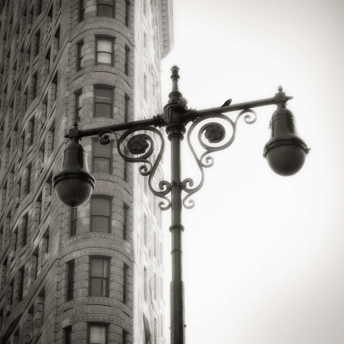 Flat Iron Building and street lamp, New York, 2011