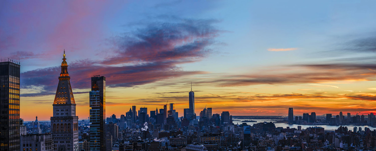 Lower Manhattan winter sunset, NY, 2015