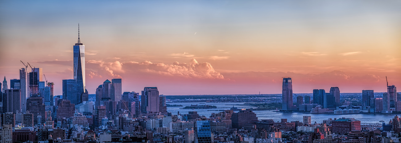 Sunset with clouds lower Manhattan, NY, 2015