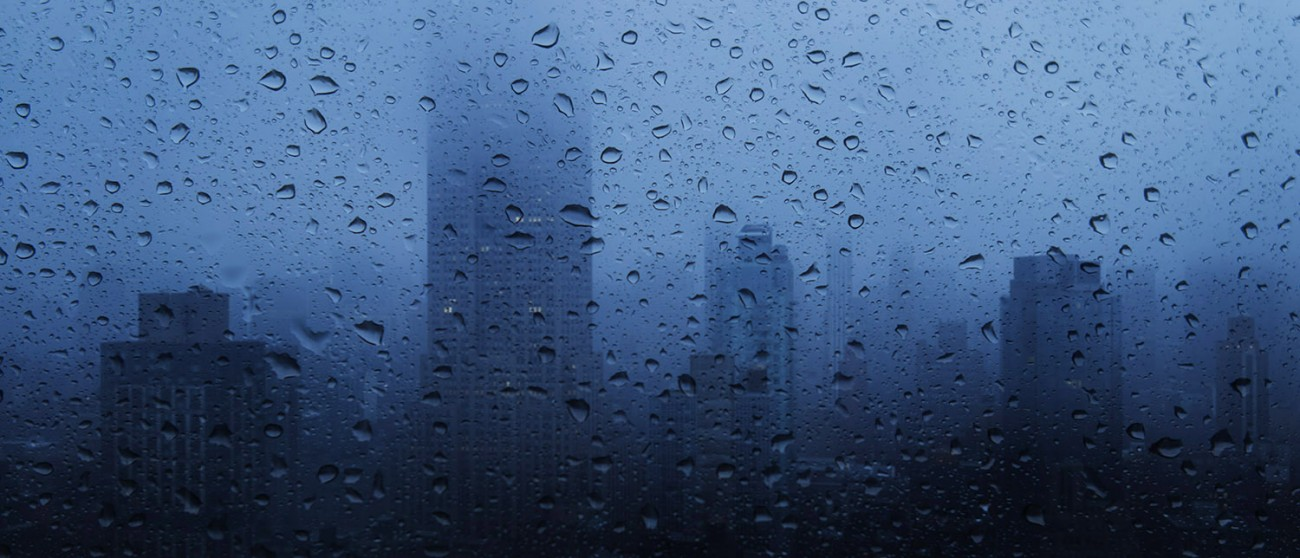 Hard rain at dawn, New York, 2016
