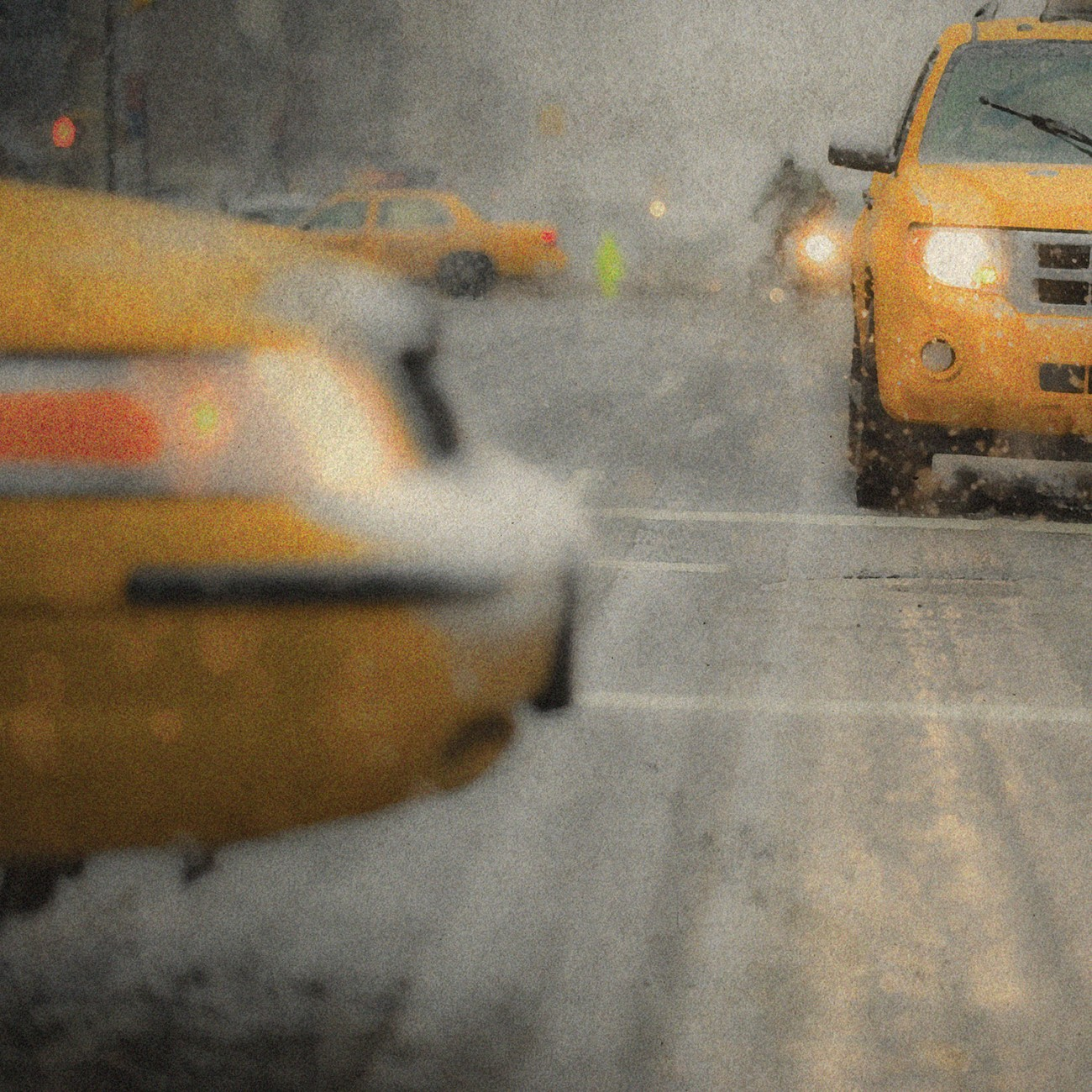 Taxis in snow, New York, 2010