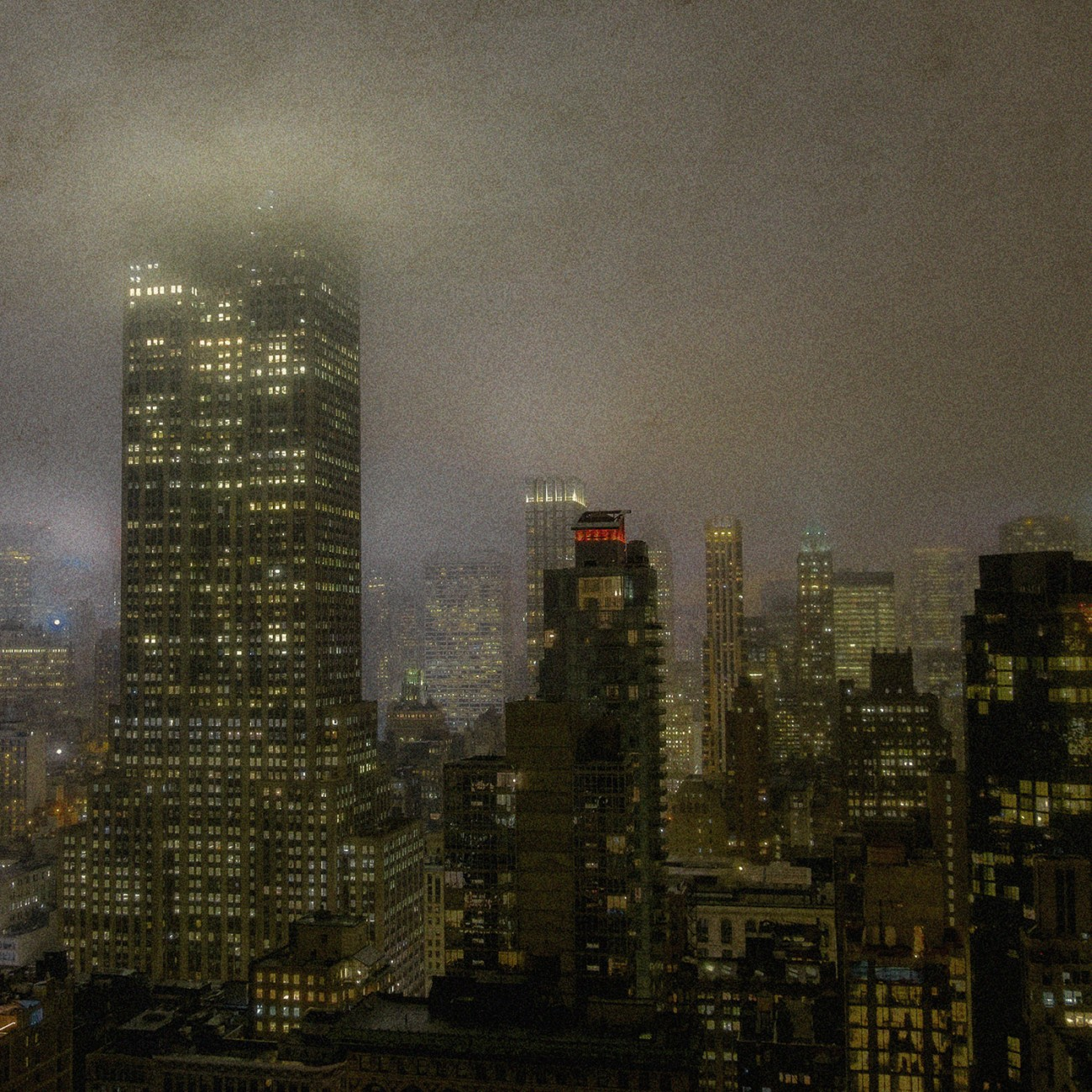 Night fog in the city, NY, 2015