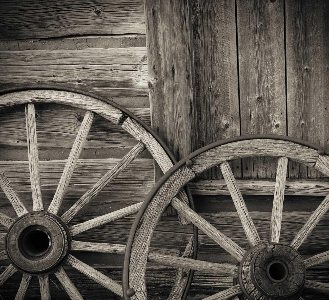 Two wagon wheels, Wyoming, 2009