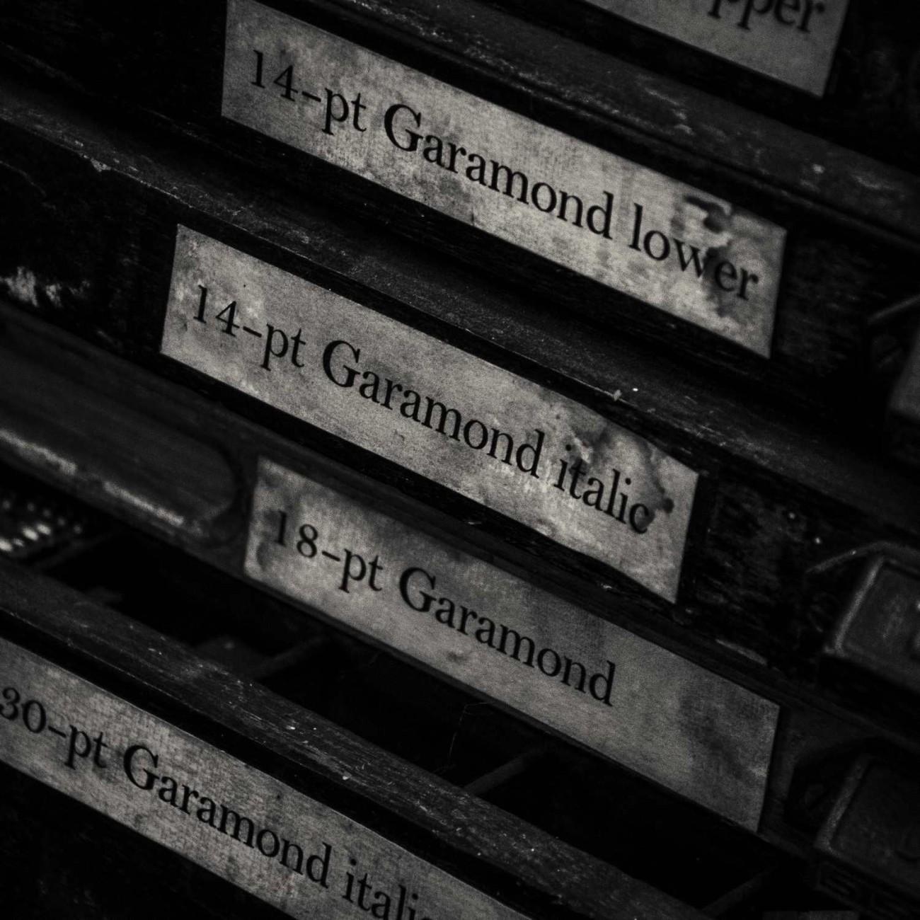 Garamond type trays, England, 2010
