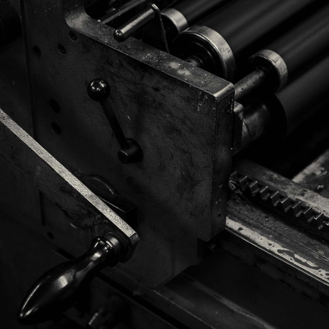 Printing press handle and rollers, England, 2010