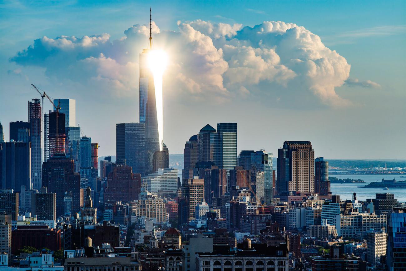 Sun reflection on the World Trade Center, NY, 2015
