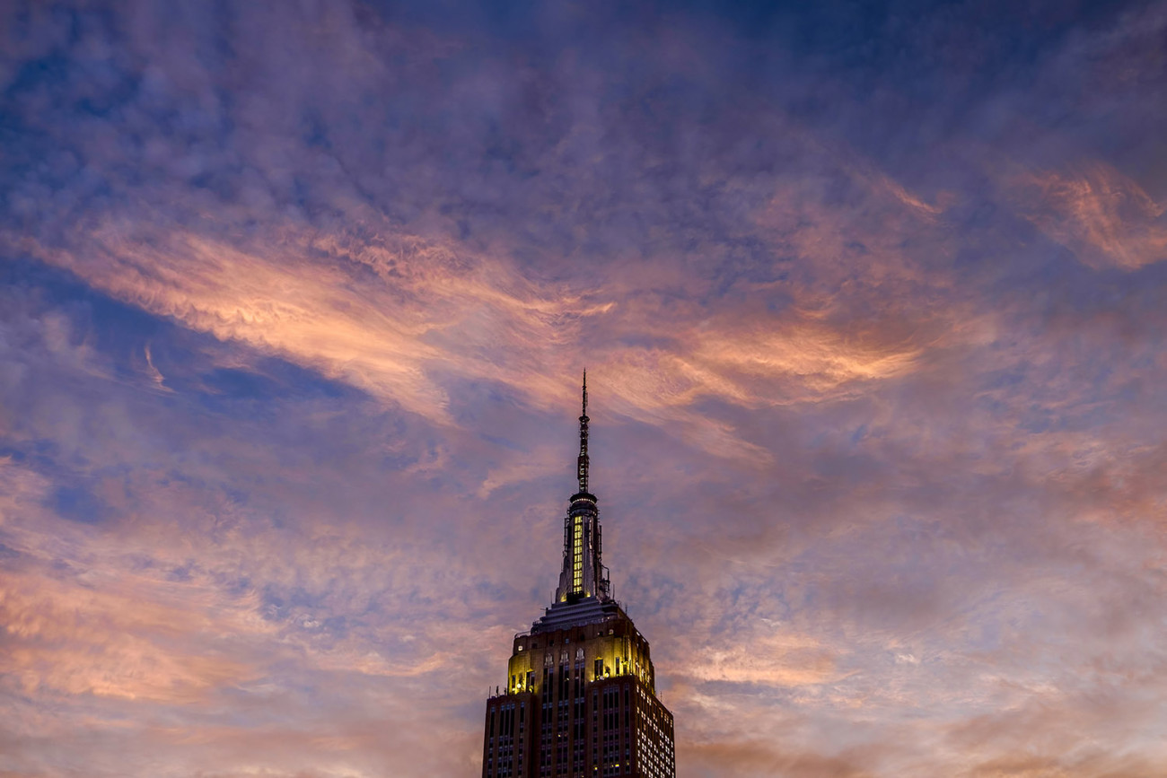 Clouds at dusk and Empire State Building, NY, 2015