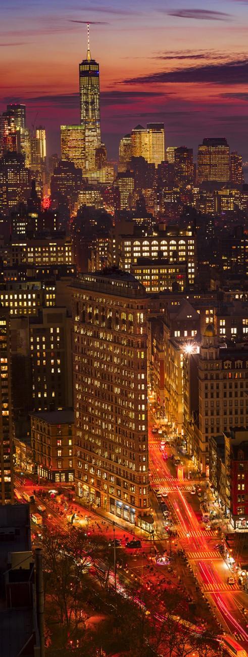 Flatiron and World Trade Center at night, NY, 2015