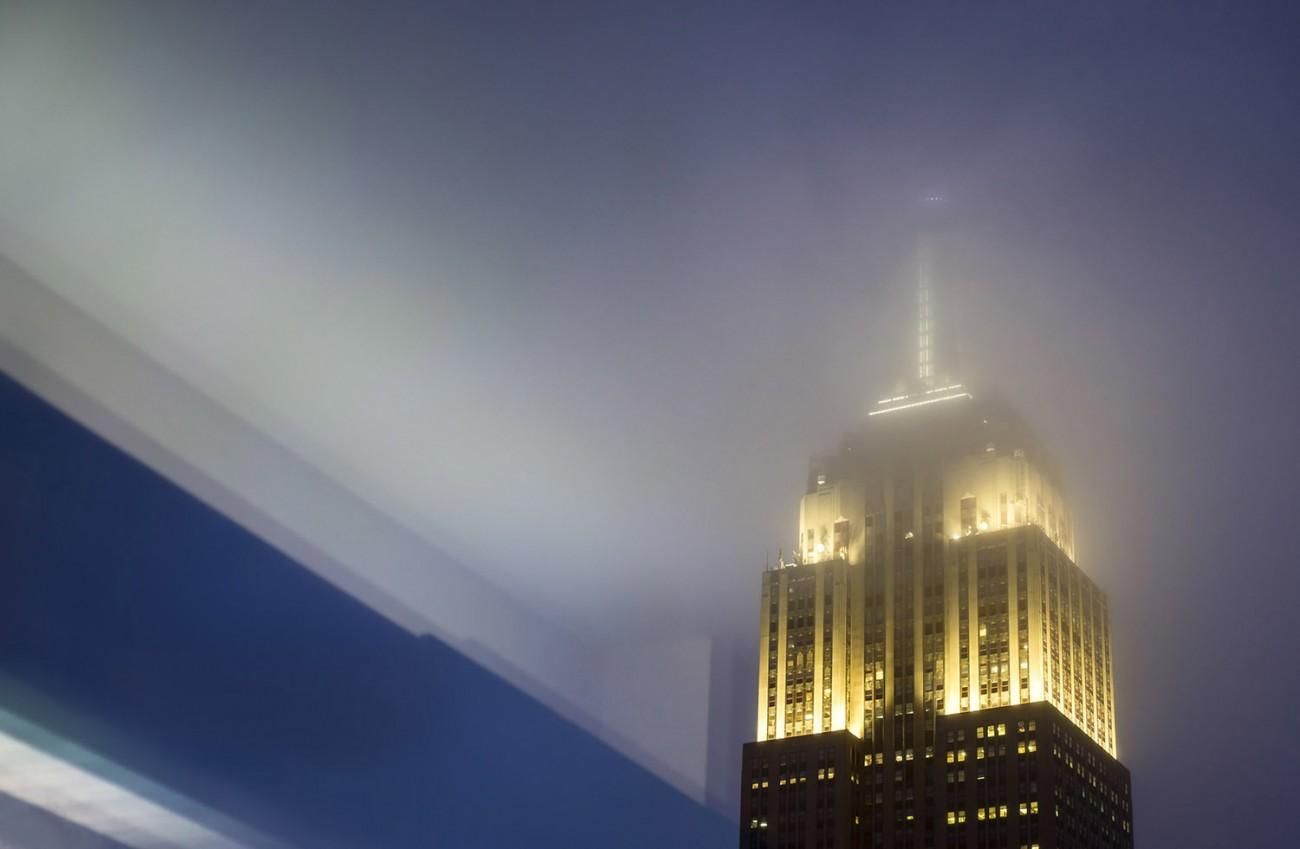 Reflection and misty sky, NY, 2016