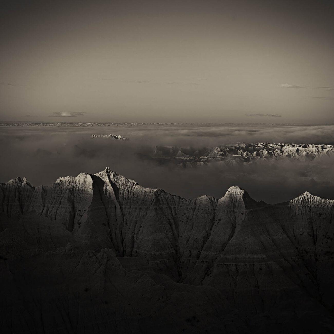 Morning fog in the Badlands, SD, 2010