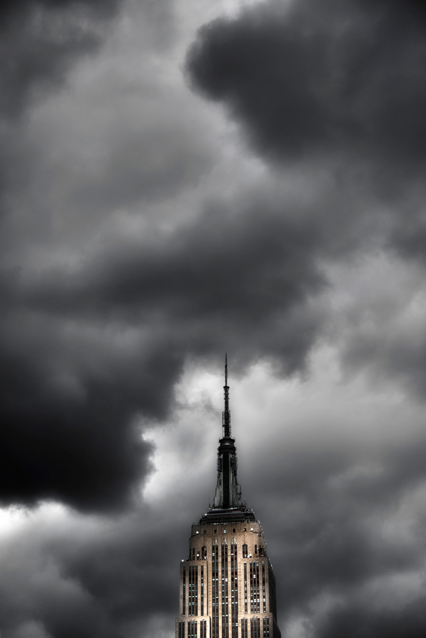 Empire State Building and clearing storm clouds, NY, 2010