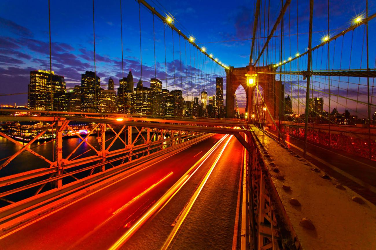 Night traffic on the Brooklyn Bridge, NY, 2011