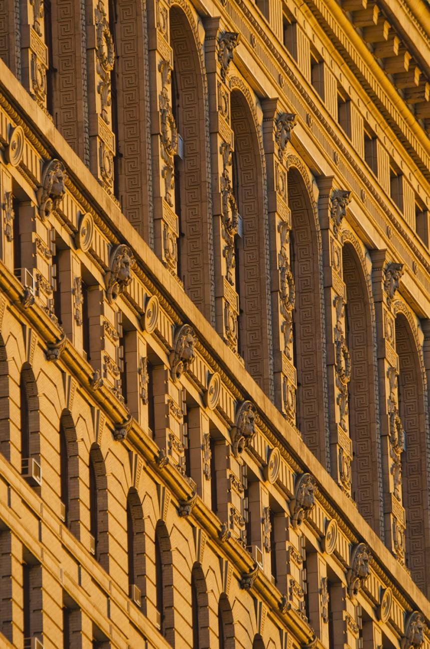 Flatiron close-up with sunset light, NY, 2012