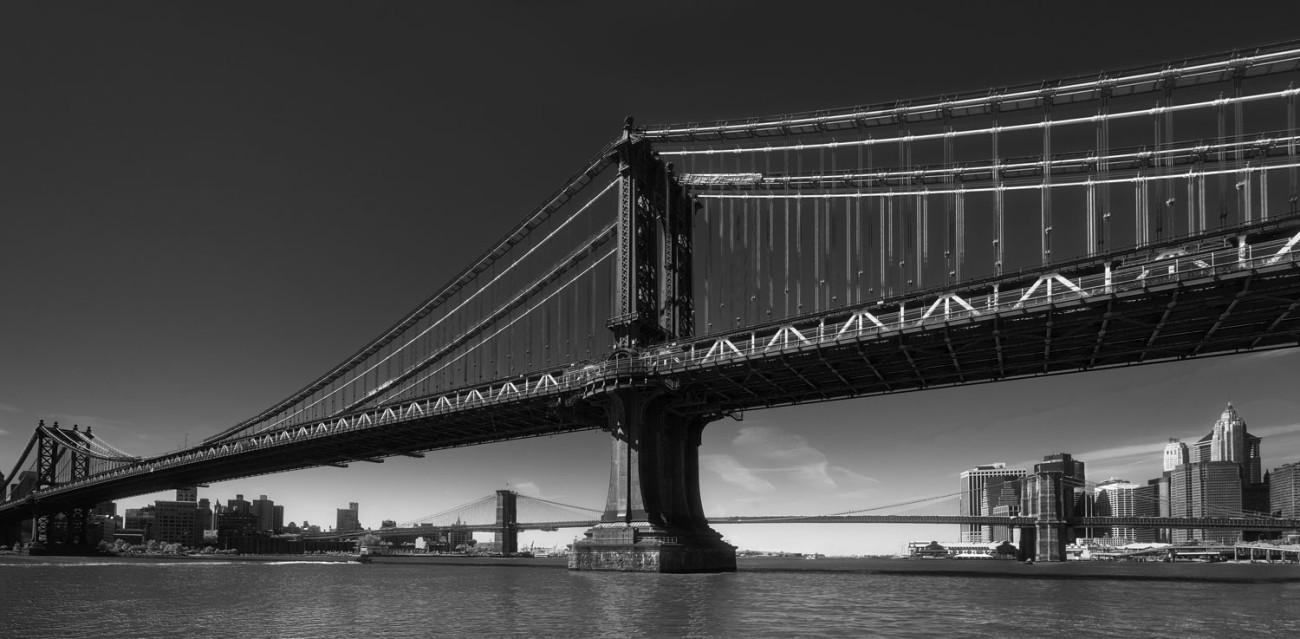 Manhattan and Brooklyn bridges with Lower Manhattan, NY, 2012