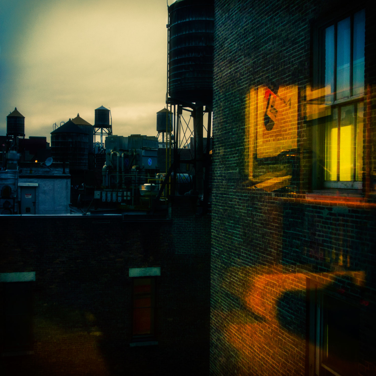 Rooftop water towers at sunset, New York, 2014
