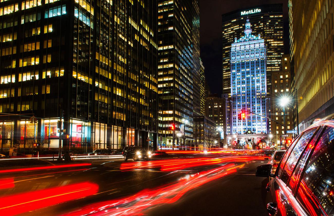 Park Avenue and Helmsley Building at night, NY, 2013