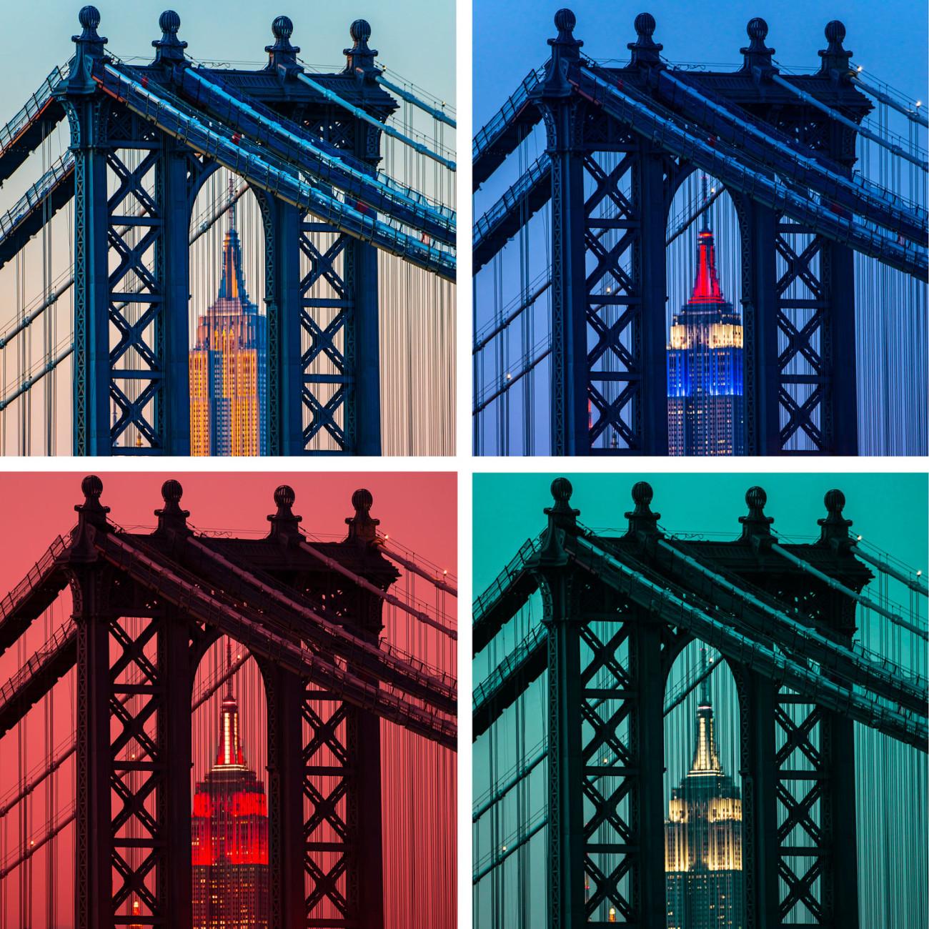 Four views of the Empire State Building through the Manhattan Br