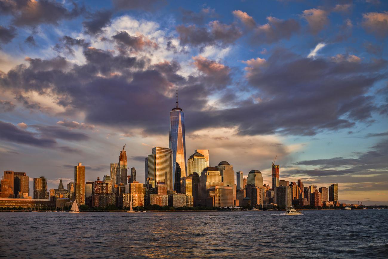Sunset reflection on the World Trade Center, NY, 2015