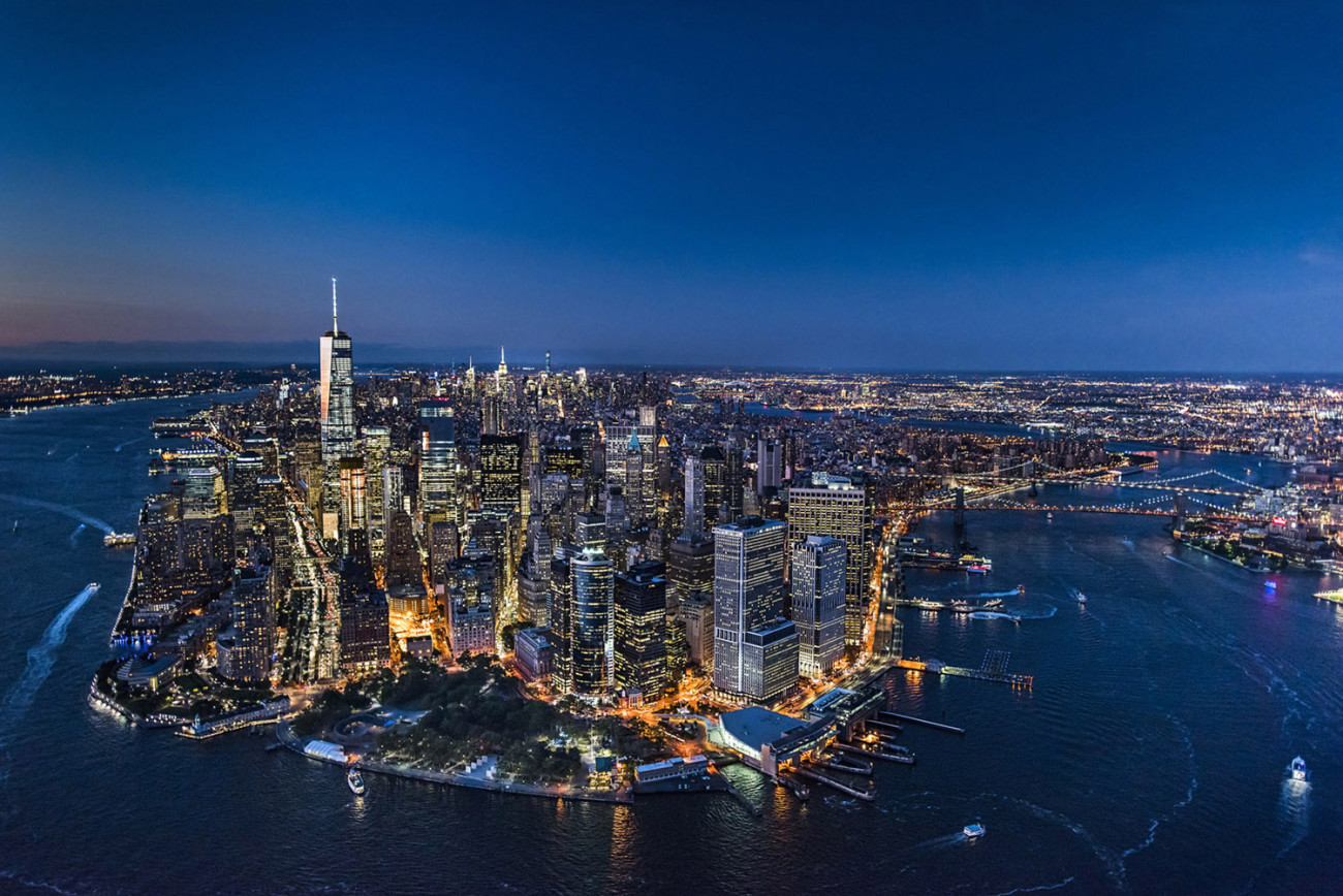 Aerial of downtown Manhattan and the Battery, NY, 2015