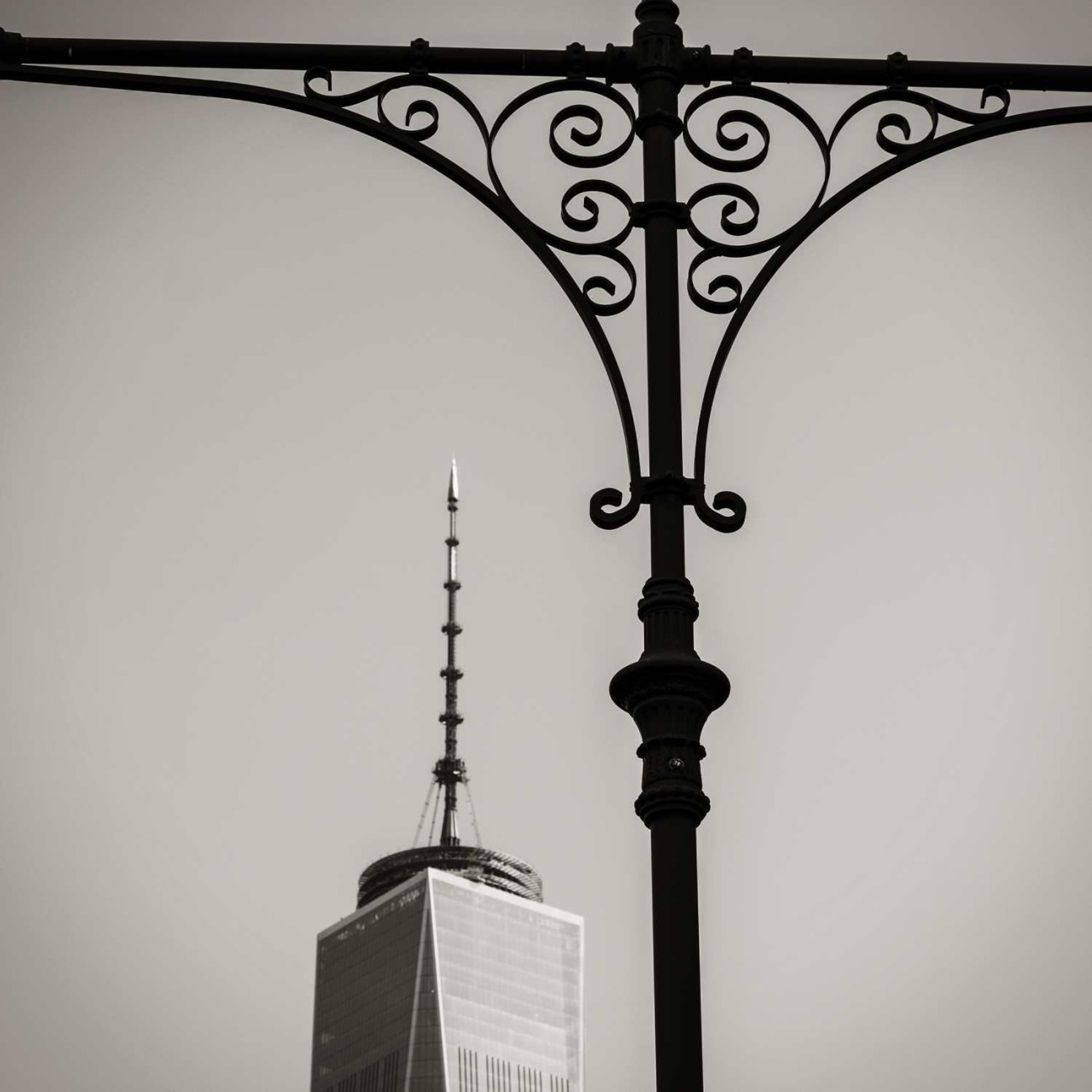 World Trade Center spire and lamp post, New York, 2014