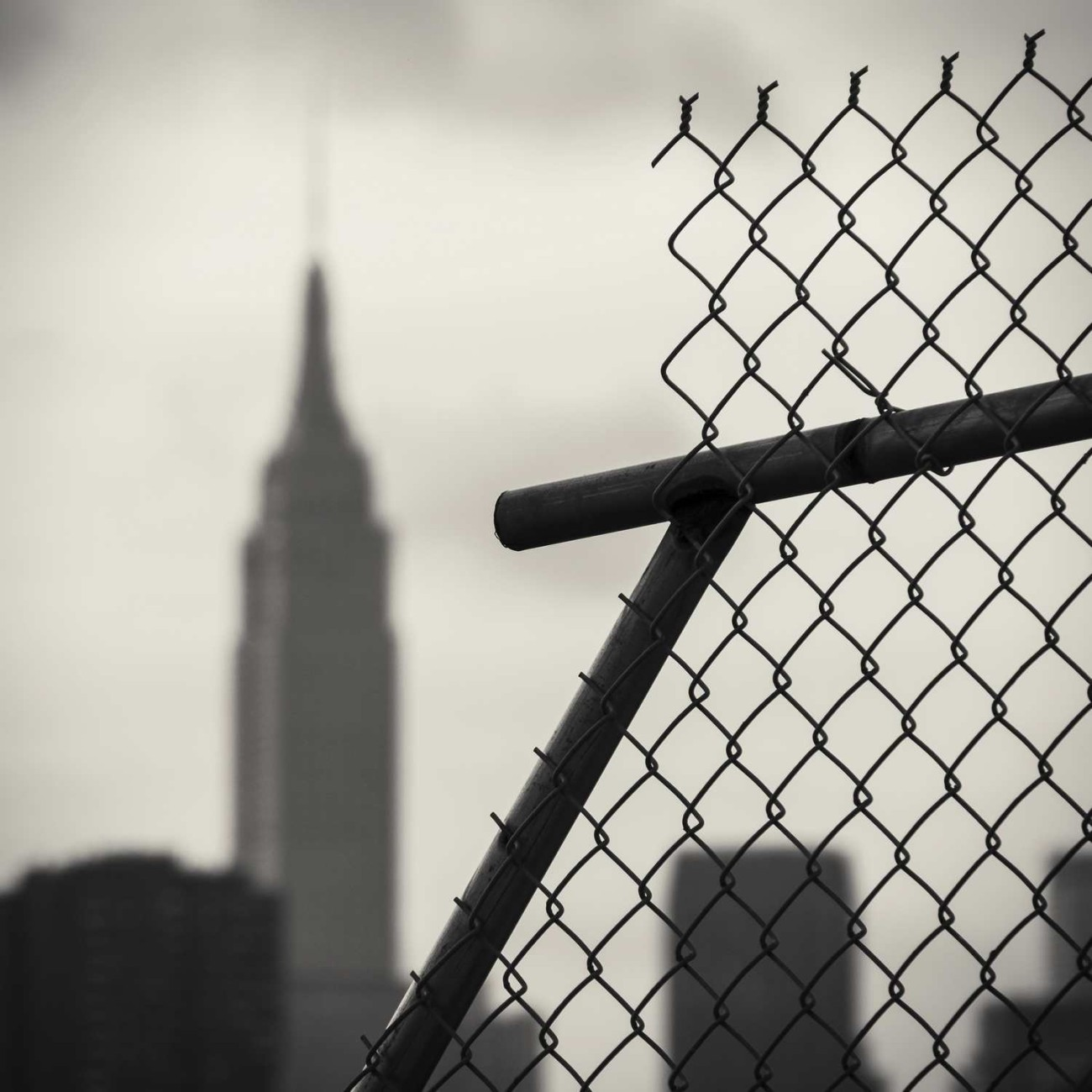 Chain fence and Empire State Building, Brooklyn, NY 2014
