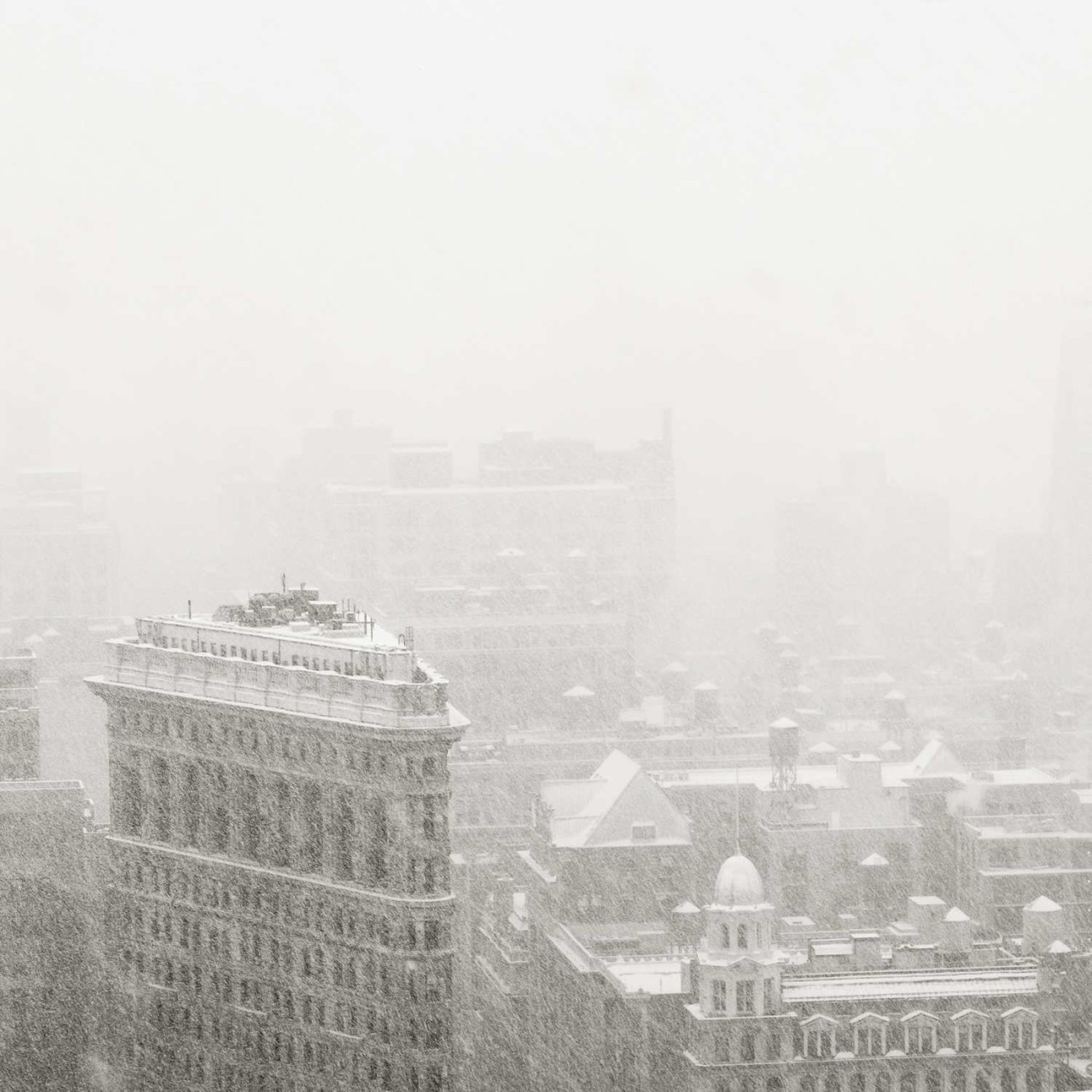 Flatiron district in heavy snow, NY, 2015