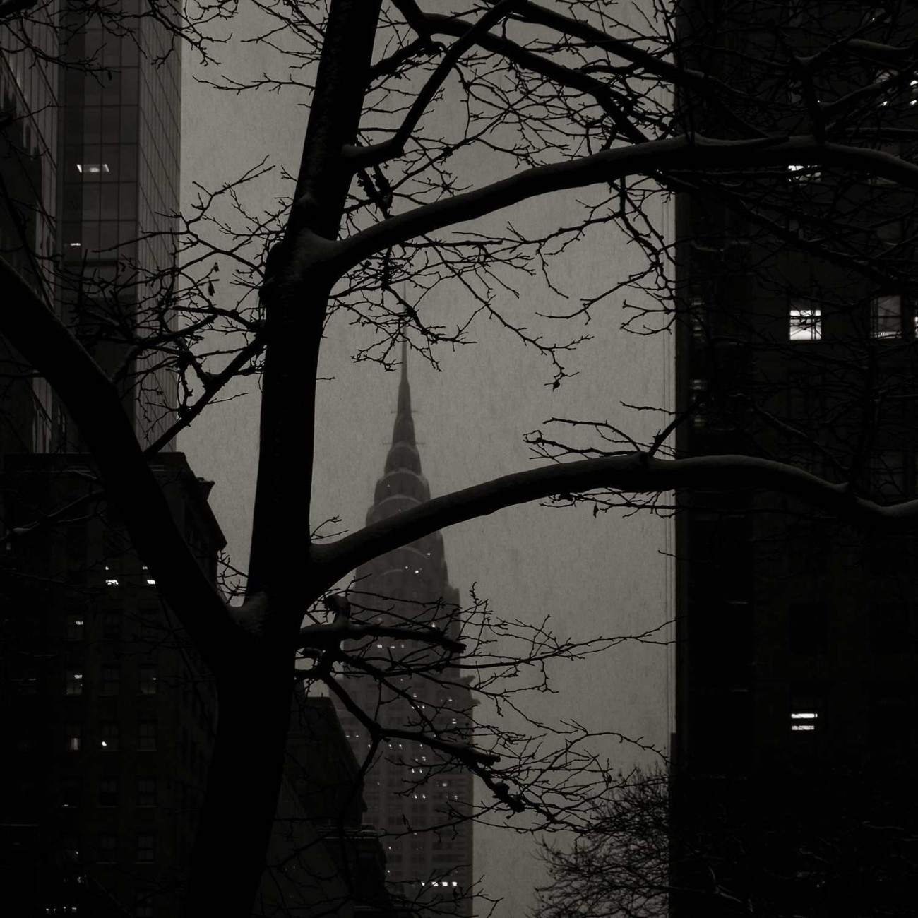 Chrysler Building at dusk with falling snow, New York, 2015