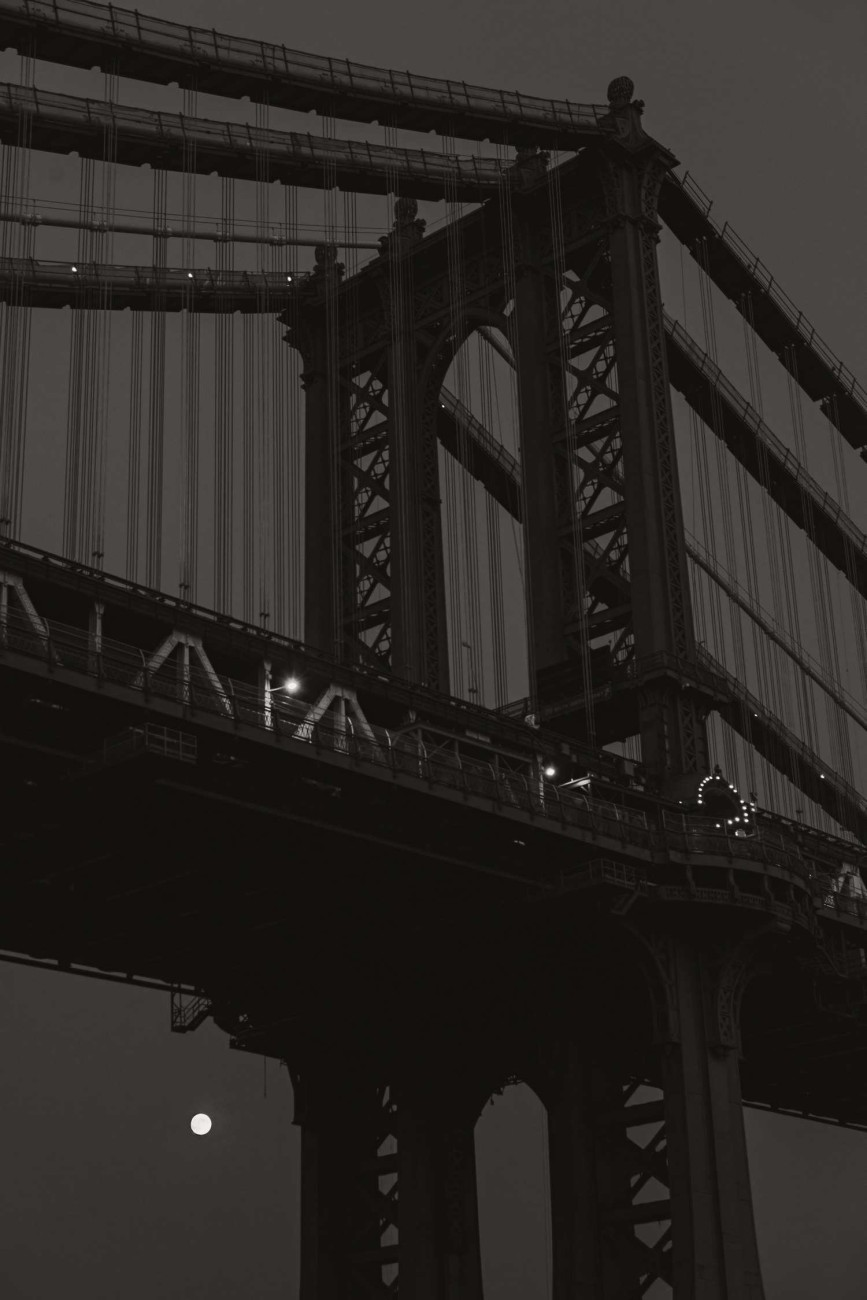 Manhattan Bridge and moon, New York, 2012