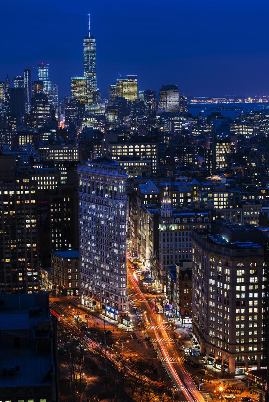 City lights Flatiron and lower Manhattan, NY, 2015
