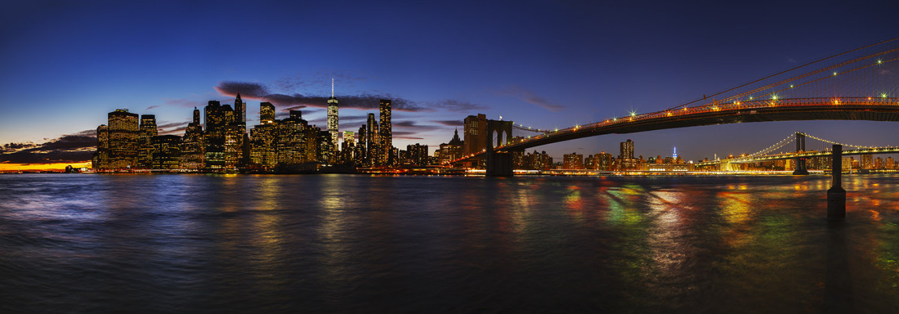 Lower Manhattan and two bridges sunset, NY, 2015