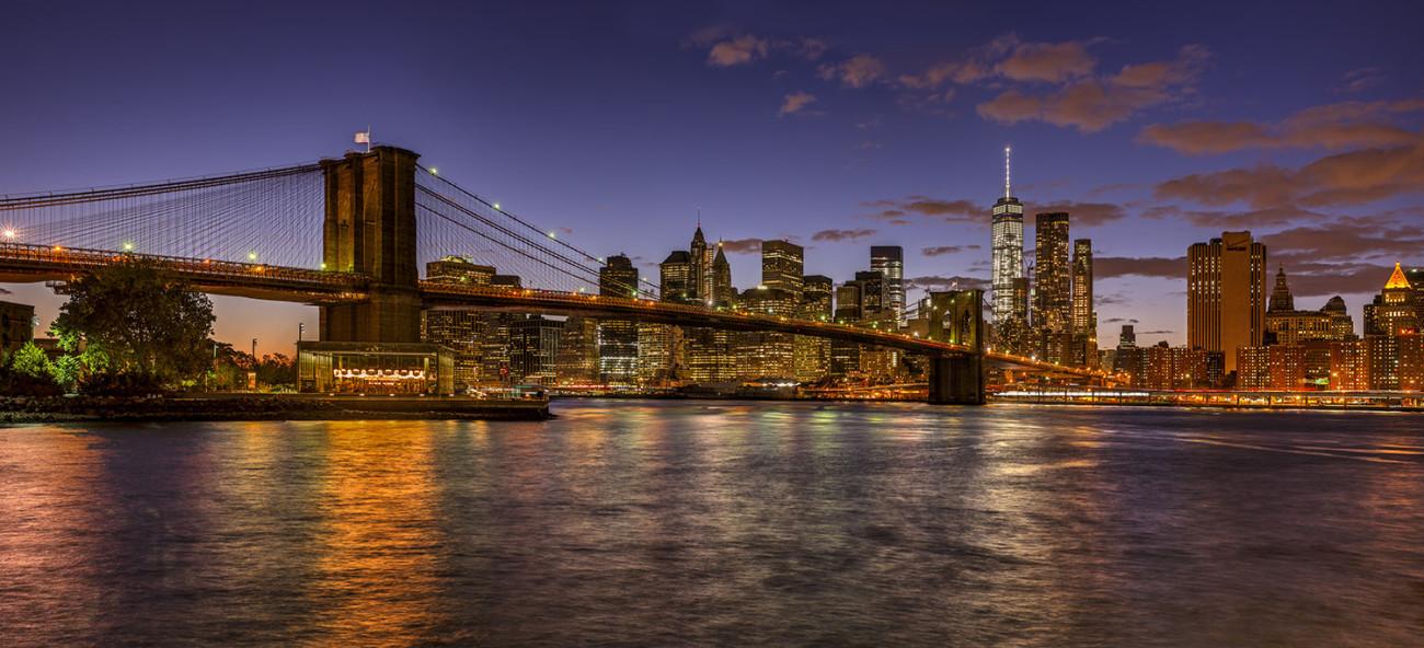 Lower Manhattan and Brooklyn Bridge sunset, study 2, NY 2015